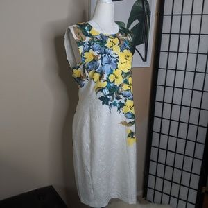 Karl Lagerfeld Floral Jacquard Sheath Career Dress